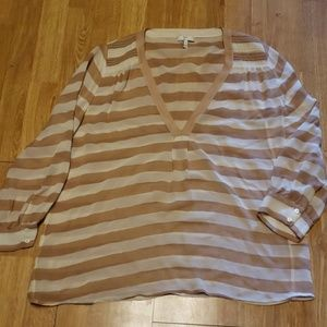 Joie silk tan/cream striped v-neck blouse M